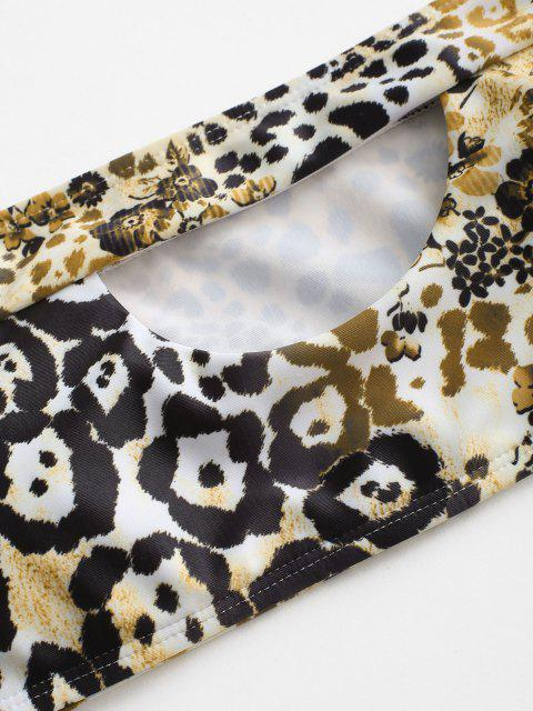 ZAFUL Leopard Ausschnitt Bandeau Bikini Badebekleidung mit Hohem Bein - Dunkel gelb S Mobile