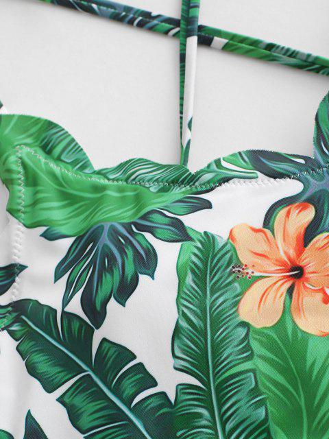 ZAFUL Maillot de Bain Tankini Festonné Feuille Tropicale Imprimée à Lacets - Vert profond L Mobile