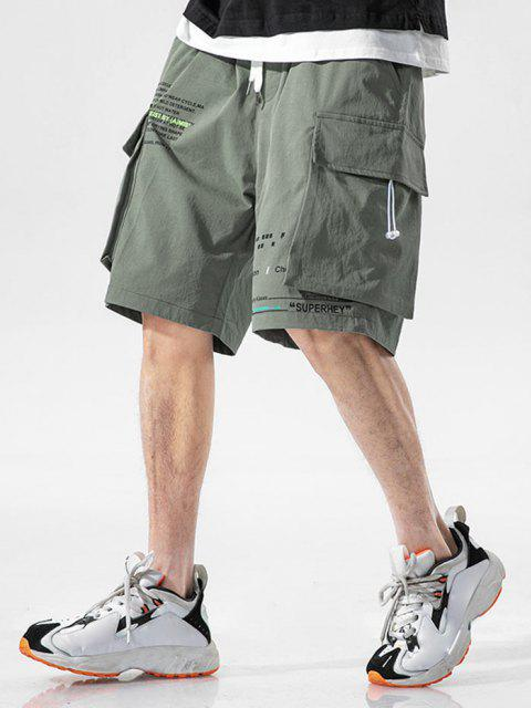 affordable Letter Text Multi Pockets Lounge Shorts - GRAYISH TURQUOISE 3XL Mobile