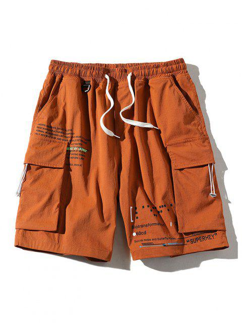 outfits Letter Text Multi Pockets Lounge Shorts - ORANGE 3XL Mobile