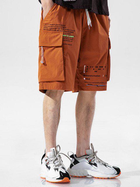 Buchstaben Druck Multi Taschen Lounge Shorts - Orange 2XL Mobile