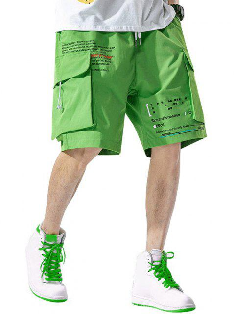 レターテキストマルチラウンジショーツポケット - 緑 XL Mobile