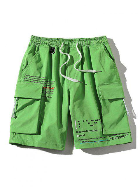 ladies Letter Text Multi Pockets Lounge Shorts - GREEN XL Mobile