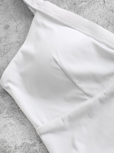 ZAFUL Haut de Bikini Court Superposé Côtelé - Blanc M Mobile