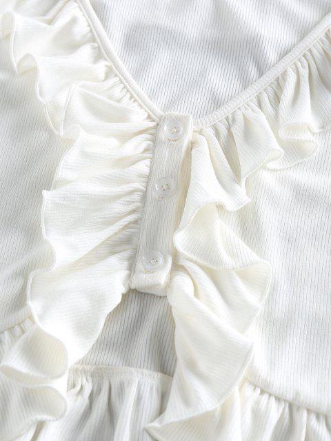 ZAFUL T Shirt com Nervuras Cortado Cortado - Branco XL Mobile