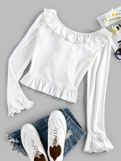 online ZAFUL Ruffle Ribbed Crop T Shirt - WHITE L Mobile