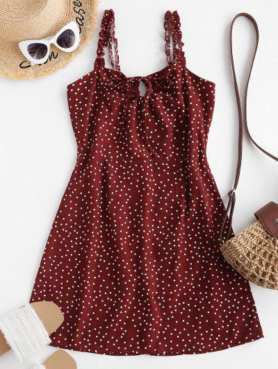 Ruffled Straps Dotted Tie Collar Mini Dress - Red S
