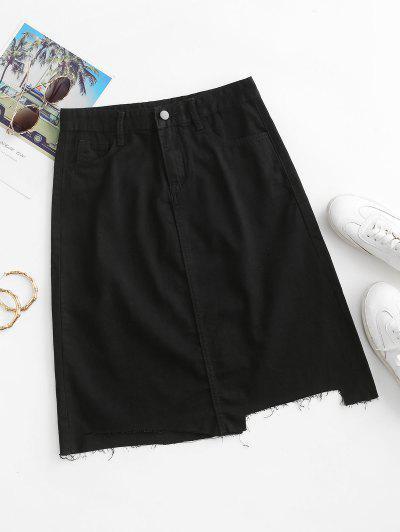 Frayed Hem A Line Denim Skirt - Black S