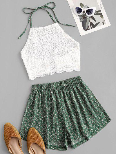 Crochet Lace Ditsy Print Halter Two Piece Set - Green S