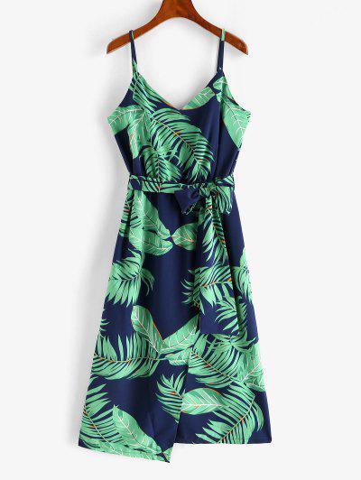 Robe à Bretelle Feuille De Palmier Tropicale Avec Ceinture - Vert M