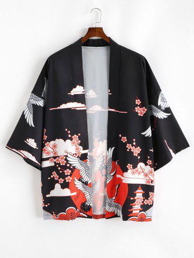 Open Front Flowers And Crane Print Kimono Cardigan - Black Xl