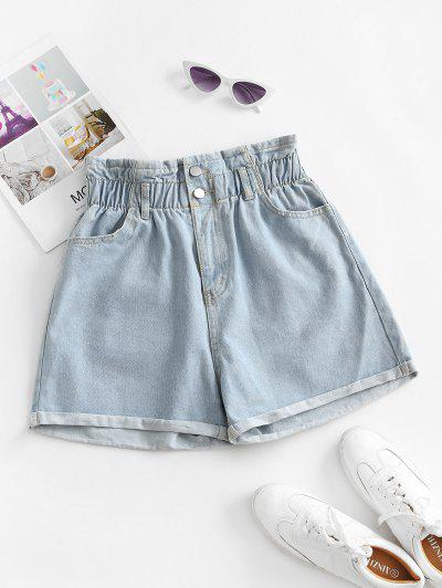 Cuffed Hem Denim Pockets Paperbag Shorts - Light Blue M