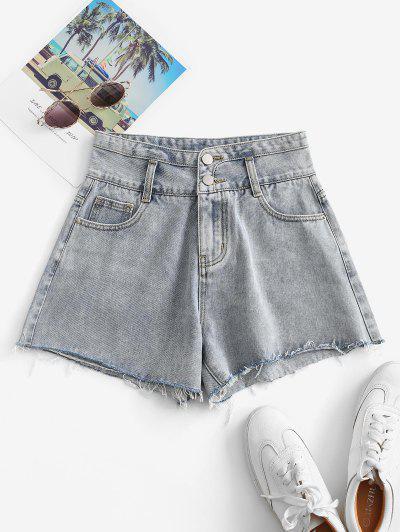 Shorts De Brim Plano - Azul Claro Xl