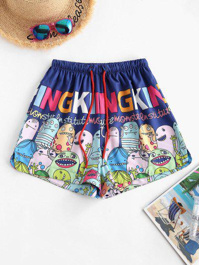 Drawstring Funny Cartoon Print Lounge Shorts - Blue Xl