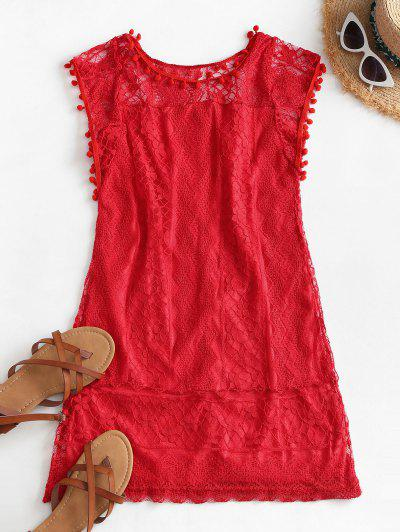 Lace Pompoms Trim Mini Dress - Red M