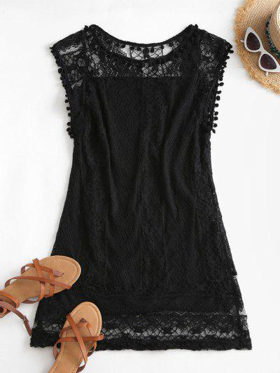 Lace Pompoms Trim Mini Dress - Black M