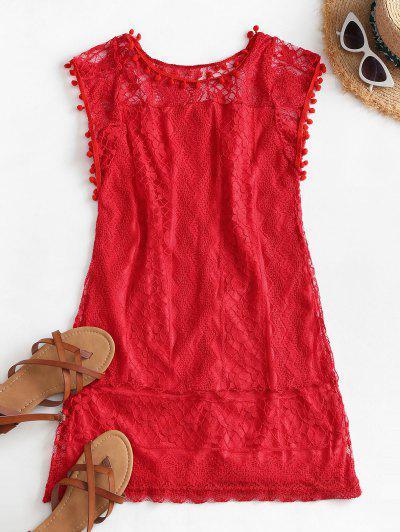 Lace Pompoms Trim Mini Dress - Red L