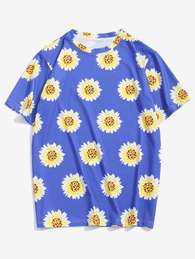 Blumenmuster Urlaub T-Shirt - Seiden Blau Xl