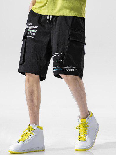 Letter Text Multi Pockets Lounge Shorts - Black M
