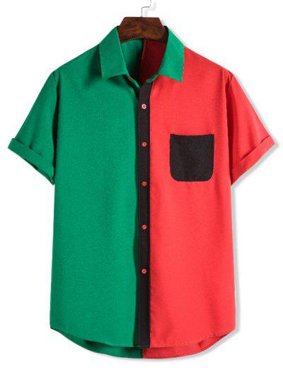 Color Blocking Pocket Patch Button Up Shirt - Lava Red M