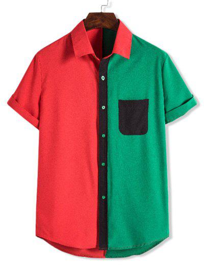 Color Blocking Pocket Patch Button Up Shirt - Medium Forest Green M