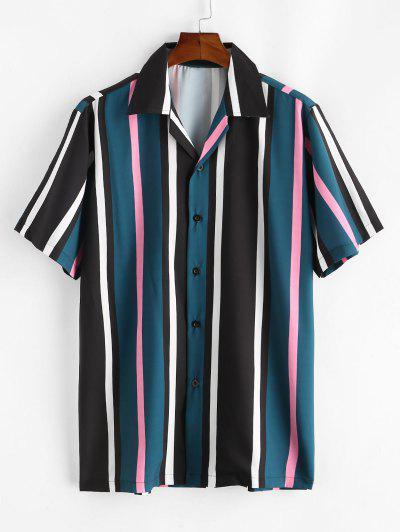Colorblock Striped Camp Collar Shirt - Dark Forest Green M