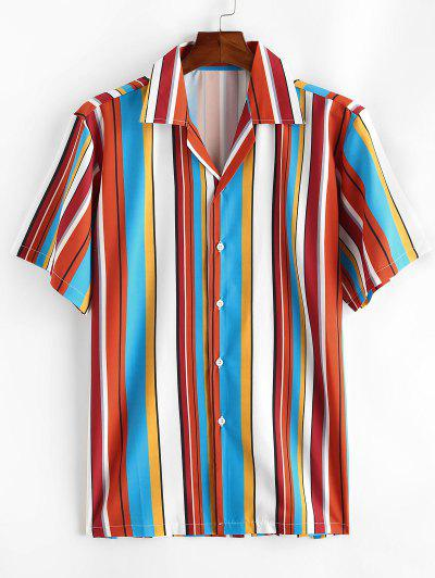 Notched Collar Contrast Stripe Shirt - Rosso Red 2xl
