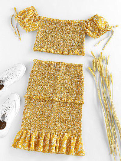 ZAFUL Ditsy Print Smocked Ruffle Puff Sleeve Mermaid Skirt Set - Yellow M