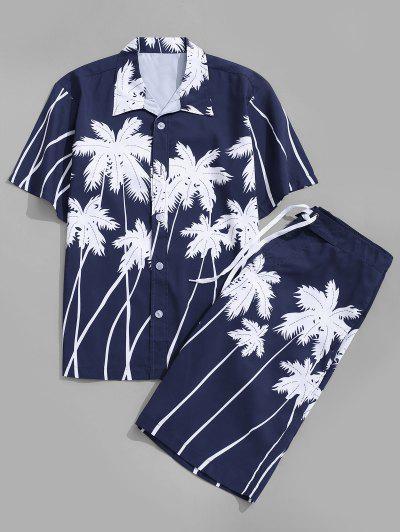 Coconut Palm Print Hawaii Shirt And Beach Shorts - Deep Blue L