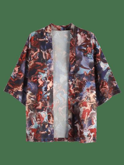 Angel Renaissance Print Open Front Kimono Cardigan