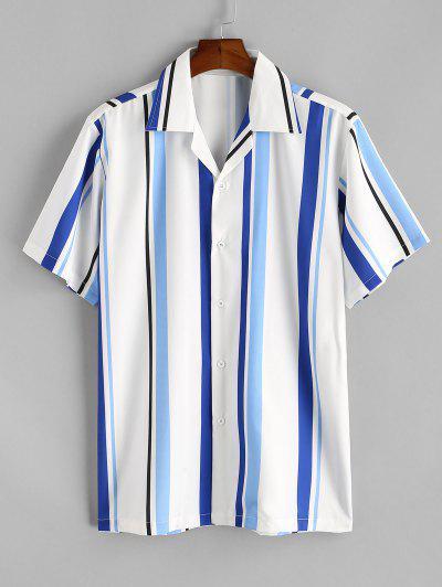 Stripe Notched Collar Shirt - Deep Sky Blue S