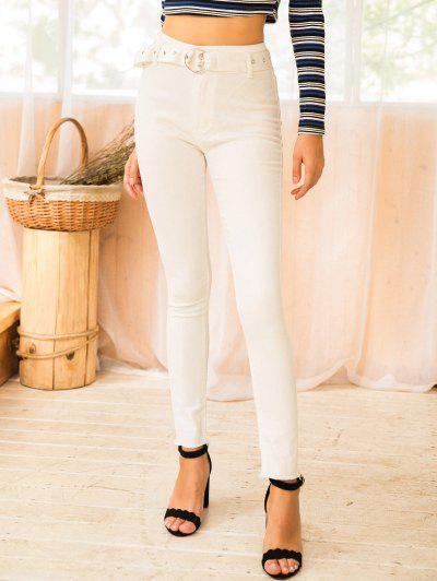 Jeans Magro Com Cinto Sólido - Branco S