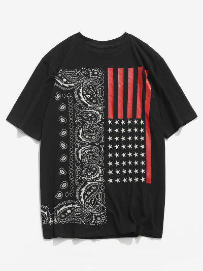 ZAFUL American Flag Paisley Print T-shirt - Black S