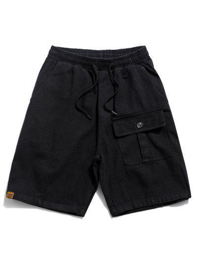 Solid Flap Pocket Drawstring Solid Shorts - Black 4xl