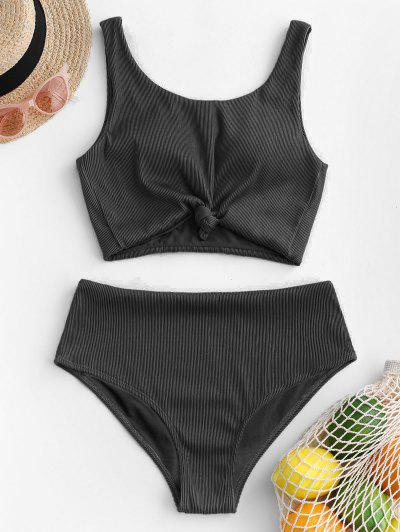 ZAFUL Knot Textured Ribbed Tankini Swimsuit - Black S