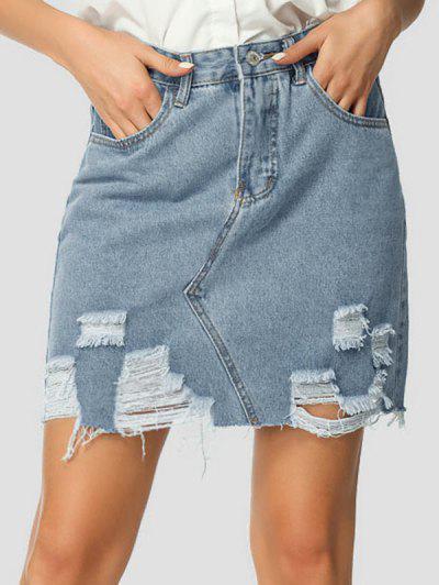 Distressed Denim High Waist Mini Skirt - Blue M