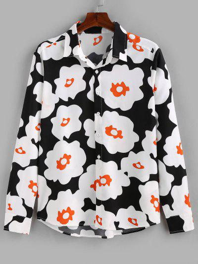 ZAFUL Flower Print Long Sleeve Button Up Shirt - Black S