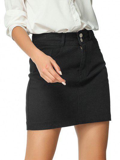 High Waisted Zip Fly Denim Skirt - Black M