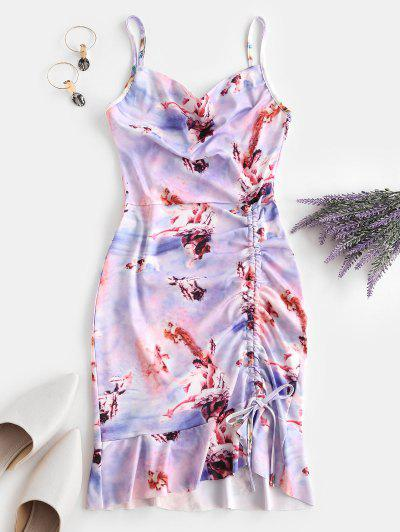Cinched Ruffle Hem Open Back Angel Print Dress - Light Purple M
