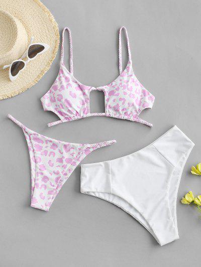 ZAFUL Braided Cutout Leopard Three Piece Swimsuit - White L