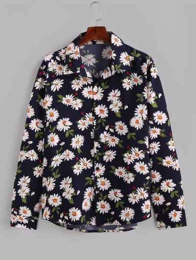 ZAFUL Daisy Print Button Up Long Sleeve Shirt - Deep Blue L