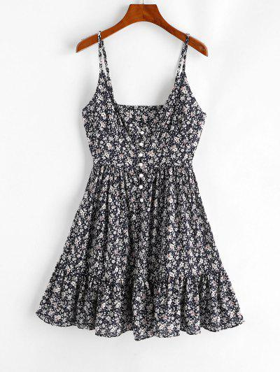 ZAFUL Ruffles Half Buttoned Floral Dress - Deep Blue S