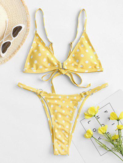 ZAFUL Polka Dot O-ring String Bikini Swimsuit - Yellow S