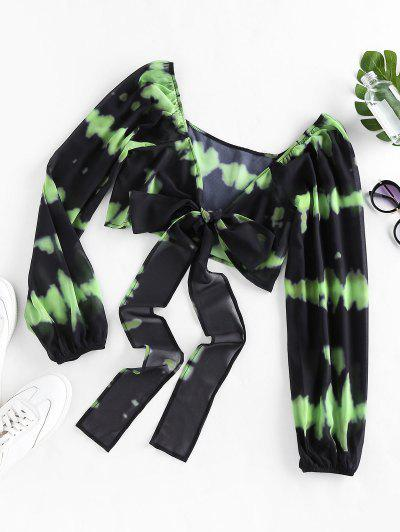ZAFUL Tie Dye Bowknot Plunging Crop Blouse - Yellow Green M