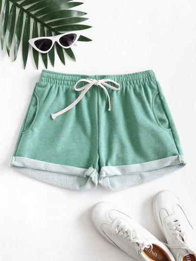 Pockets Drawstring Cuffed Hem Sweat Shorts - Light Green S