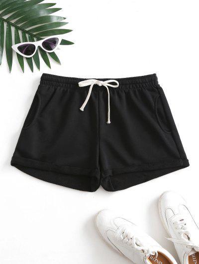 Pockets Drawstring Cuffed Hem Sweat Shorts - Black M