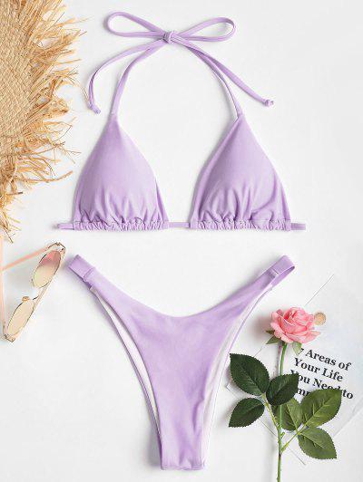 Bikini En Ensemble Coupe Haute à Col Halter  - Violet Clair S