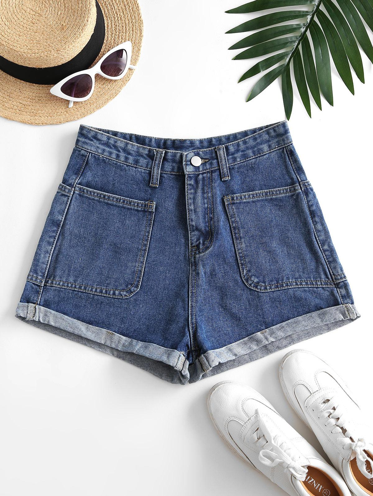 Cuffed Hem Four Pockets Denim Shorts