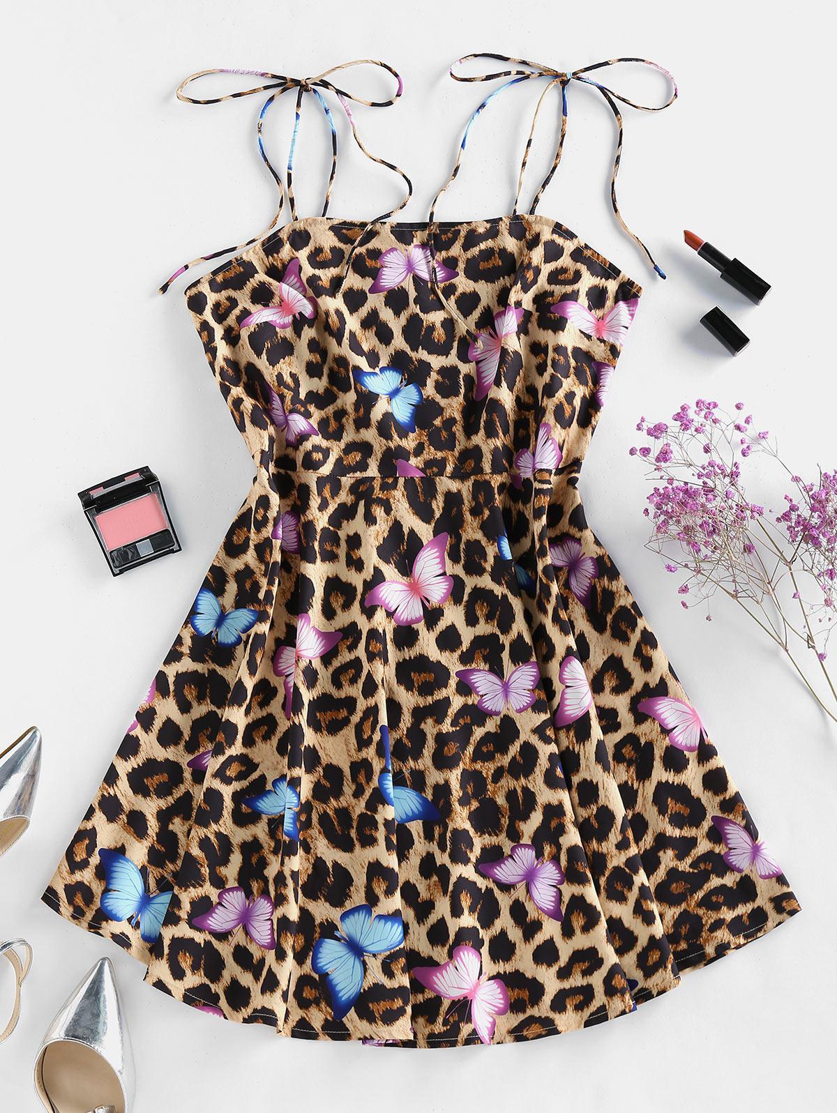 ZAFUL Leopard Butterfly Print Tie Shoulder Backless Dress