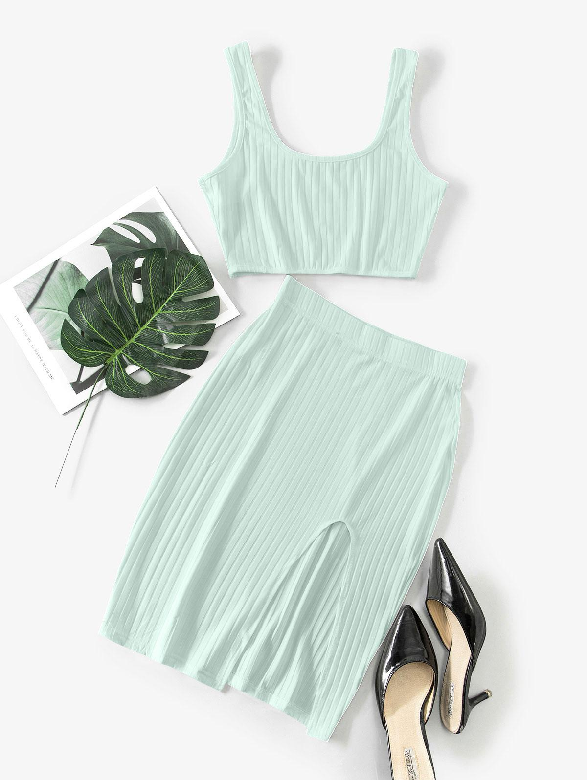 Cut Out Solid Crop Two Piece Suit
